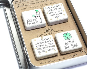 IRISH Magnet Collection. Rustic Concrete Magnets with Gift Tin and Ribbon. 1.25 x1.25. Kiss Me I'm Irish St Patricks Day Gift