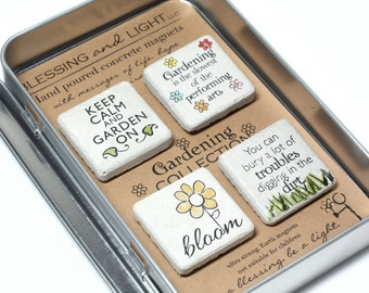 Gardening Magnets. Rustic Concrete Magnets with Gift Tin and Ribbon. Garden Magnets. Keep Calm and Garden On. 1.25x1.25