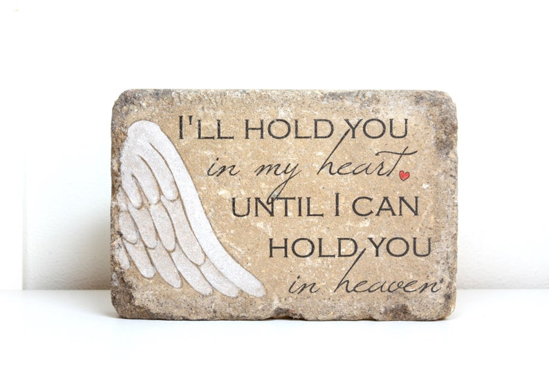 I'll hold you in my heart memorial stone. READY TO SHIP. image 0