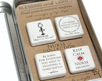 Nurse Gift. Rustic Refrigerator Magnets.1.25 x 1.25 Gift Tin with Ribbon. Hand painted Magnets. Nurse Appreciation Graduation