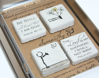 Sympathy Gift. Rustic Refrigerator Magnets.1.25 x 1.25 Perfect for Memorials. Gift Tin with Ribbon. Hand painted Magnets