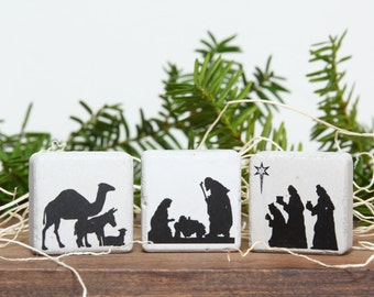 Mini Christmas Nativity Scene Christmas Magnets 1.25 x 1.25. Gift Tin and Ribbon. Stocking Stuffer. Mini Rustic Nativity