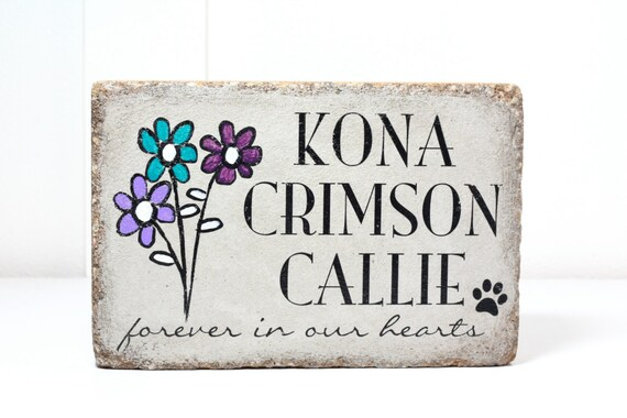 Indoor or Outdoor Use Perfect gift for loss of pet. shipping Free U.S 6x9 READY TO SHIP Concrete Pet Memorial Stone for Dog or Cat