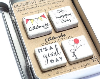 CELEBRATE Magnets. Concrete Magnet Collection. Rustic Concrete Magnets with Gift Tin and Ribbon. 1.25 x1.25 Party Gift