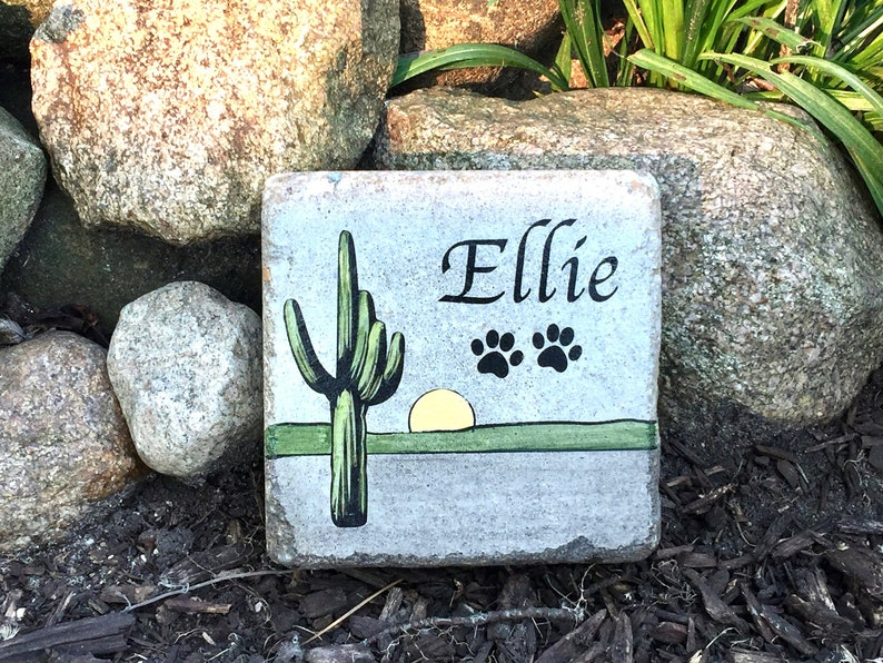 6x6 PERSONALIZED Pet Memorial Stone & Burial Marker. Tumbled image 0