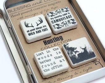 Hunting Magnet Set. Concrete Magnets. Gift Tin with Ribbon.Hand painted Concrete Magnets. Gift For Man. Fathers Day