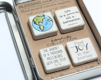 JOURNEY Collection. Concrete Magnets. Rustic Concrete Magnets with Gift Tin and Ribbon. 1.25 x1.25. Graduation Gift. Find Joy