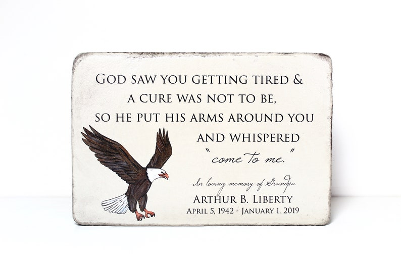 Personalized Eagle Memorial Stone. Outdoor or Indoor Use. image 0