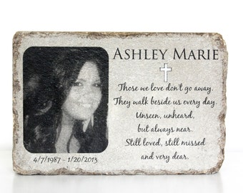 Memorial Stone with Picture. PERSONALIZED Memorial Gift. 6x9 Tumbled Concrete Paver. Remembrance Stone. In loving memory. Custom Memorial