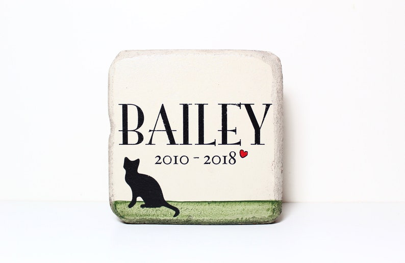 Cat Memorial Stone. 6x6 PERSONALIZED Burial Marker. Tumbled image 0