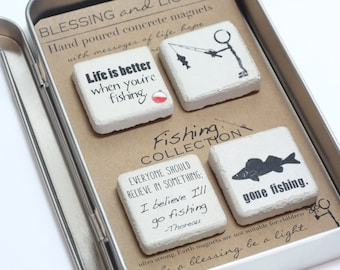 Fishing Magnet Set. Concrete Magnets. Gift Tin with Ribbon.Hand painted Concrete Magnets. Gift For Man. Fathers Day