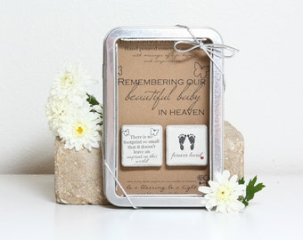 Miscarriage Memorial Magnets. Baby Loss Gift 1.25 x 1.25 Miscarriage Sympathy. Gift Tin with Ribbon Hand painted Magnets