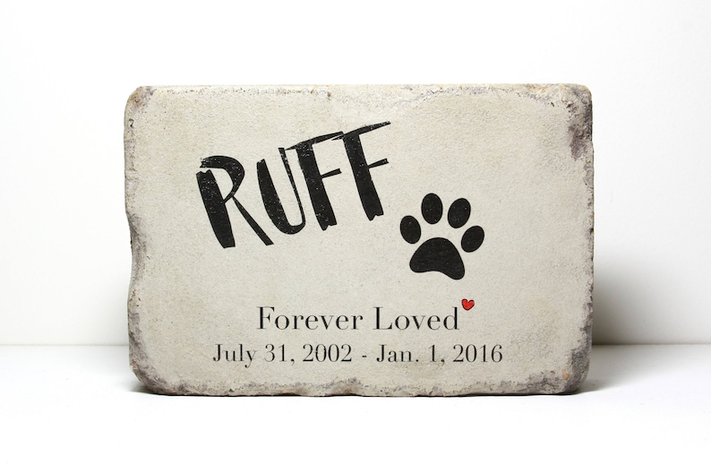 6x9 CUSTOM Burial Marker Concrete Outdoor or Indoor Dog or Cat Memorial Stone Pet Memorial Stone Pet Marker Paver Stone Tumbled