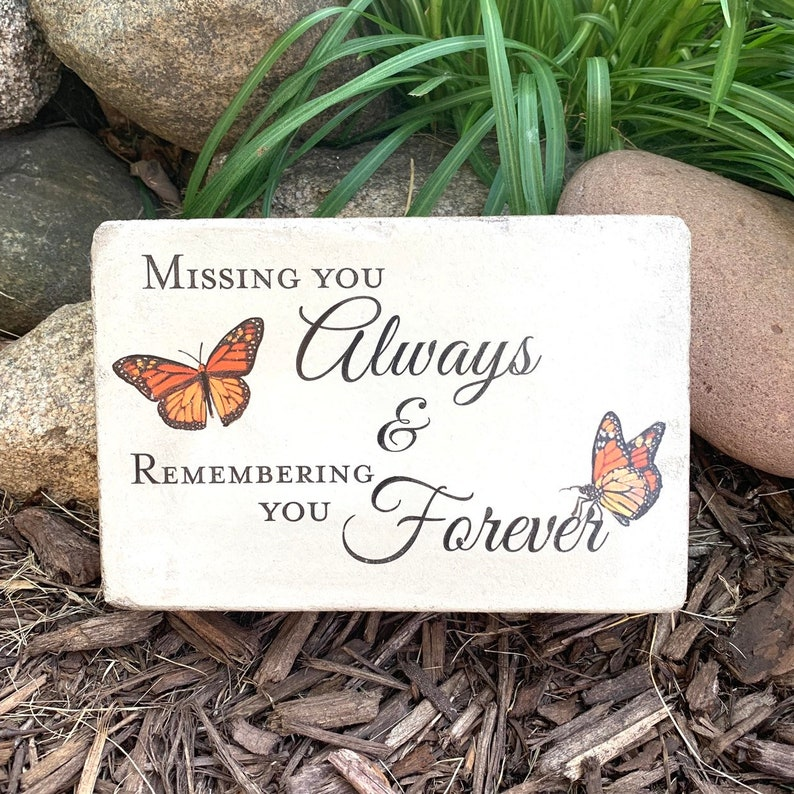 Ready To Ship Butterfly Memorial Stone. 6x9 Concrete Indoor or image 0