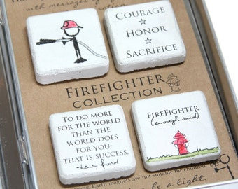 Firefighter Gift. Rustic Refrigerator Magnets.1.25 x 1.25 Gift Tin with Ribbon. Hand painted Magnets. Firefighter Appreciation