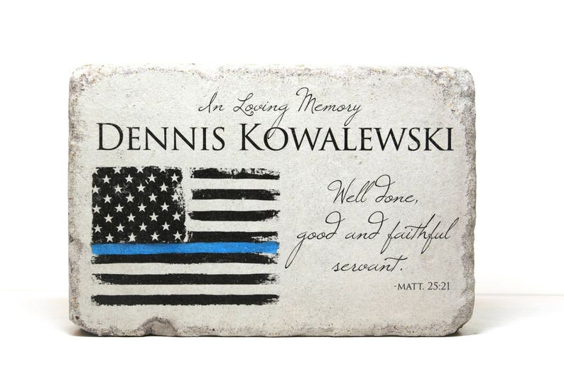 Police Memorial Stone for Home to Garden. 6x9 Tumbled Concrete image 0