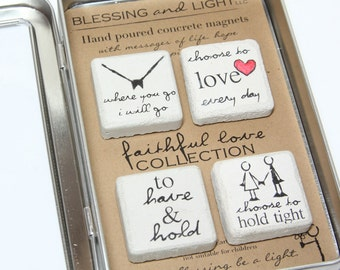 RUSTIC Magnet Collection. FAITHFUL LOVE. Concrete Refrigerator Magnets. Gift Tin with Ribbon. Earth Magnets. Rustic Wedding or Anniversary