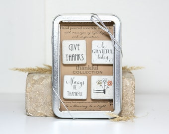 THANKFUL Magnet Collection. 4 individually Poured Concrete Magnets. High Quality Giftable Tin with ribbon.