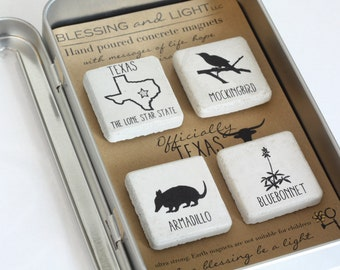 TEXAS Magnet Collection. Concrete Magnets with Gift Tin and Ribbon. Official Texas Symbols.1.25 X1.25 Refrigerator Magnets.