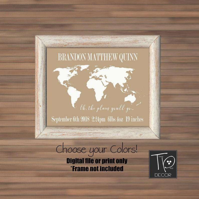 World Map Nursery Birth Stats Wall Art