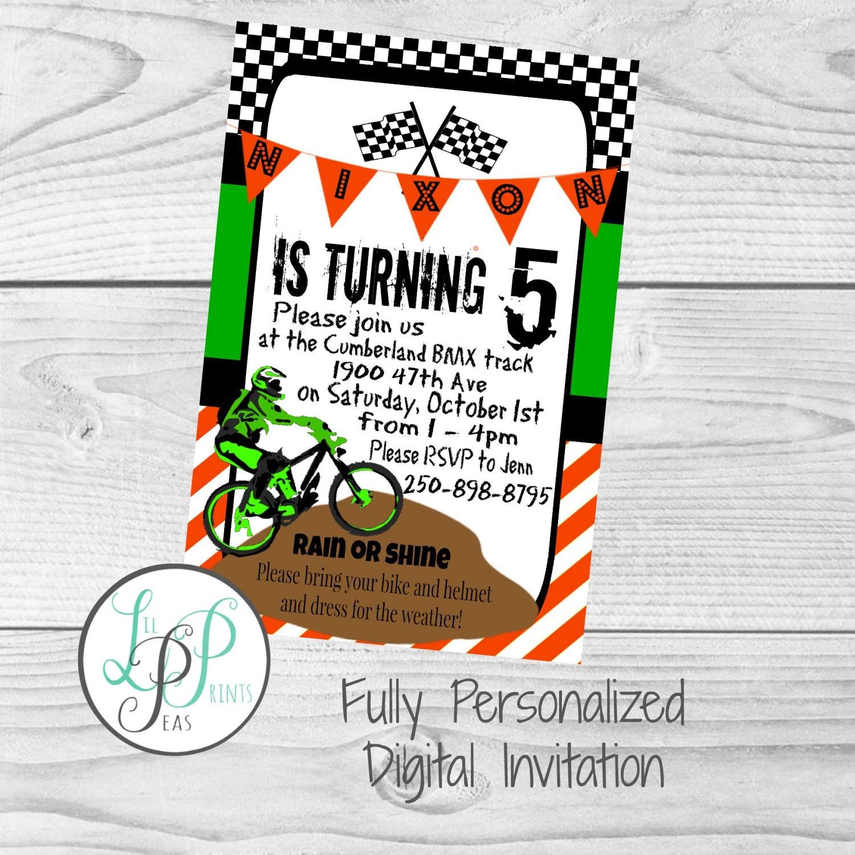 Dirt Bike Party Invitation Dirt Bike Theme Party BMX Party