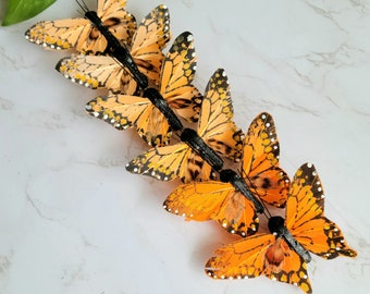 6 shaded Orange/Peach Monarch Feather Butterflies on clip for Cake toppers, home garden decoration, hat accent, crafts floral arrangements