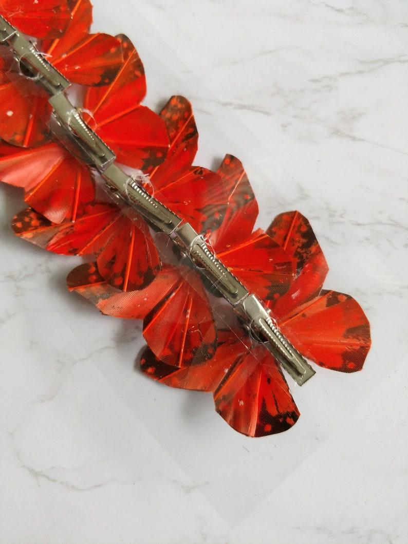 Orange feather butterflies 6 Pretty Monarch feather butterflies on clip 2-34 wingspan