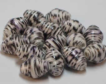 Paper beads- Recycled paper beads- Loose paper beads- Beading supplies- Jewelry Supplies- Upcycled- Bi-cone beads- Striped beads- Beads