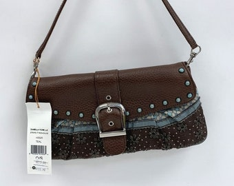 81fe53f60ee09c Isabella Fiore Brown Teal Baguette Hand Bag Purse New with Tags Model  Number: H3325