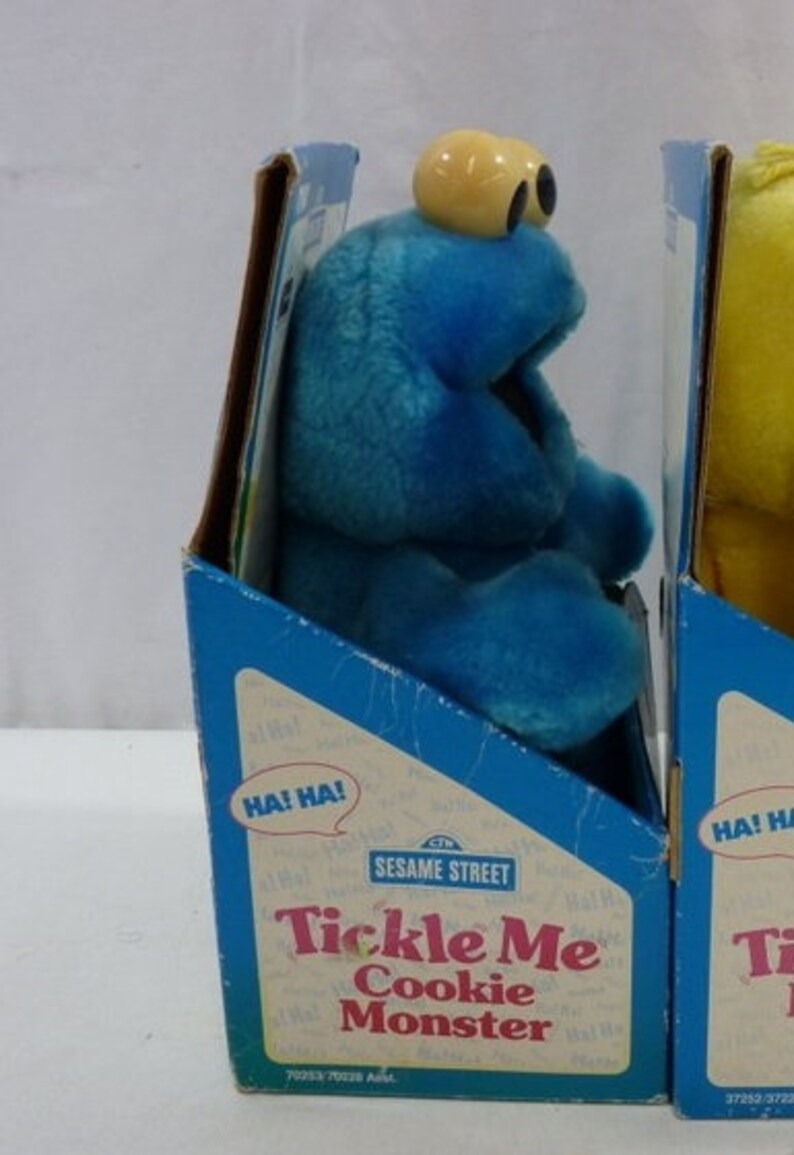 Vintage 1996 Tyco Sesame Street Tickle Me Plush Cookie Monster New in Box  Works Perfectly