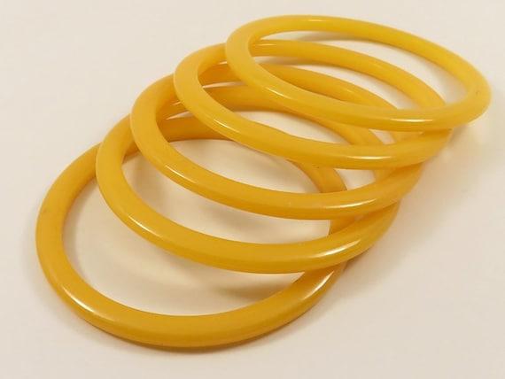5 Bakelite Bracelets * Vintage * Lemon Marigold Y… - image 1