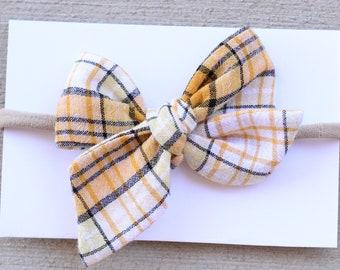 Yellow Plaid Bow