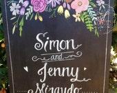 Floral Wedding Chalkboard Sign.