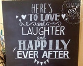 Happily Ever After Wedding Chalkboard Sign.