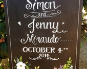 Floral Wedding Chalkboard Sign.