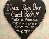 Heart shaped Guest Book Chalkboard Sign.