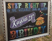 Circus themed chalkboard birthday sign.