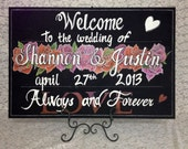 Rose Wedding Welcome chalkboard sign.