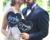 Heart shaped Bride & Groom chalkboard prop signs.