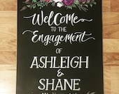 Floral Wedding/Engagement Chalkboard sign