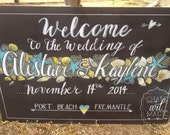Beach themed wedding chalkboard sign.