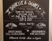 Wedding Bridal Party Chalkboard Sign.