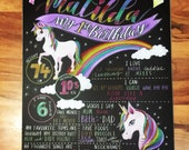 Unicorn and Rainbow Chalkboard