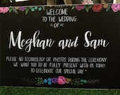Unplugged wedding sign.