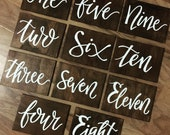 Dark timber table numbers