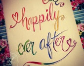 Happily Ever After Wedding Watercolour Painting.