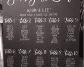 Chalkboard seating chart sign.
