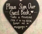 Heart shaped Guest Book Chalkboard Sign.