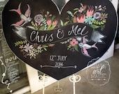 Heart Shaped Wedding Chalkboard Sign.