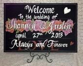 Rose Wedding Welcome chalkboard sign.